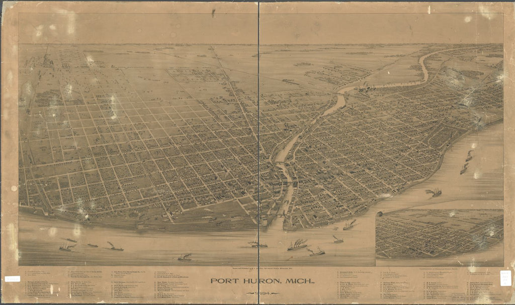 8 x 12 Reproduced Photo of Vintage Old Perspective Birds Eye View Map or Drawing of: Port Huron, Mich. 1894. Pauli, C. J. 1894