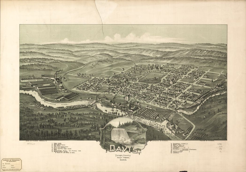 8 x 12 Reproduced Photo of Vintage Old Perspective Birds Eye View Map or Drawing of: Davis, Tucker County, West Virginia 1898. Fowler, T. M. (Thaddeus Mortimer), 1898