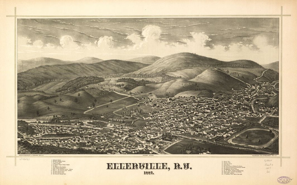 8 x 12 Reproduced Photo of Vintage Old Perspective Birds Eye View Map or Drawing of: Ellenville, N.Y. 1887.  Burleigh, L. R. (Lucien R.) - Burleigh Litho - Burleigh, L. R.  1887