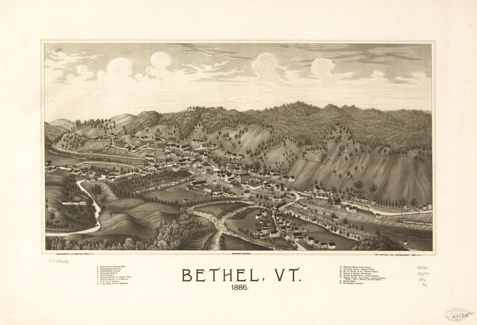 8 x 12 Reproduced Photo of Vintage Old Perspective Birds Eye View Map or Drawing of: Bethel, Vt. 1886.  Burleigh, L. R. (Lucien R.) - Burleigh Litho - Burleigh, L. R.  1886