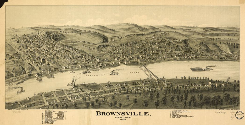 8 x 12 Reproduced Photo of Vintage Old Perspective Birds Eye View Map or Drawing of: Brownsville, Pennsylvania 1902. Fowler, T. M. - Moyer, James - Fowler, T. M. 1902