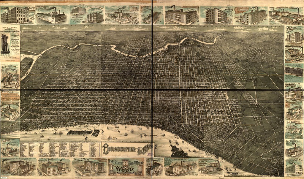 8 x 12 Reproduced Photo of Vintage Old Perspective Birds Eye View Map or Drawing of: Philadelphia in 1886. Burk & McFetridge 1885
