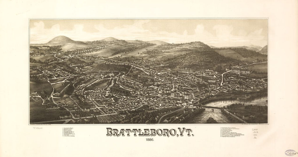 8 x 12 Reproduced Photo of Vintage Old Perspective Birds Eye View Map or Drawing of: Brattleboro, Vt. 1886.  Burleigh, L. R. (Lucien R.) - Burleigh Litho - Burleigh, L. R.  1886