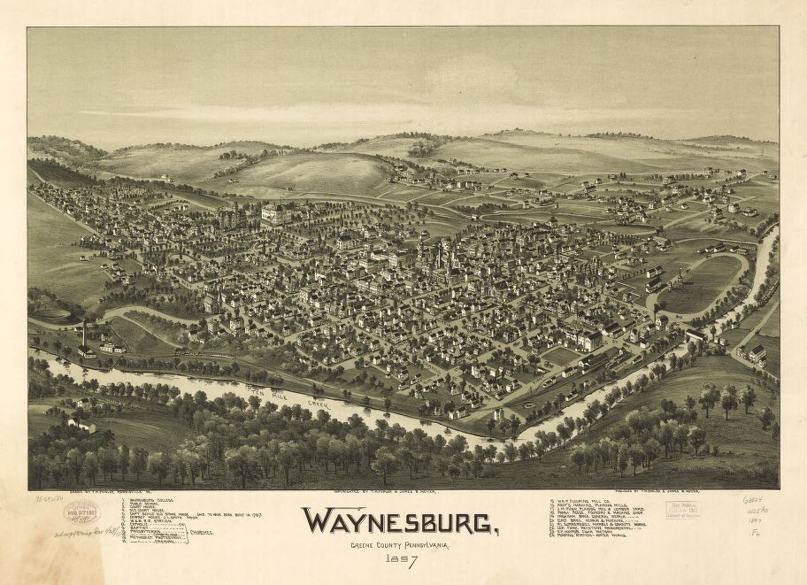8 x 12 Reproduced Photo of Vintage Old Perspective Birds Eye View Map or Drawing of: Waynesburg, Greene County, Pennsylvania, 1897.  Fowler, T. M. - Moyer, James - Fowler, T. M.  1897