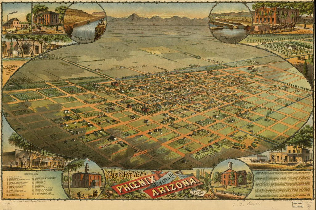 8 x 12 Reproduced Photo of Vintage Old Perspective Birds Eye View Map or Drawing of: Phoenix, Maricopa Co., Arizona. Dyer, C. J. c1885
