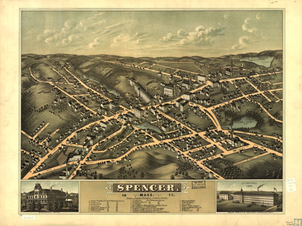 8 x 12 Reproduced Photo of Vintage Old Perspective Birds Eye View Map or Drawing of: Spencer, Mass. 1877.   Bailey, O. H. (Oakley Hoopes) - Hazen, J. C. - Bailey, O. H.  1877