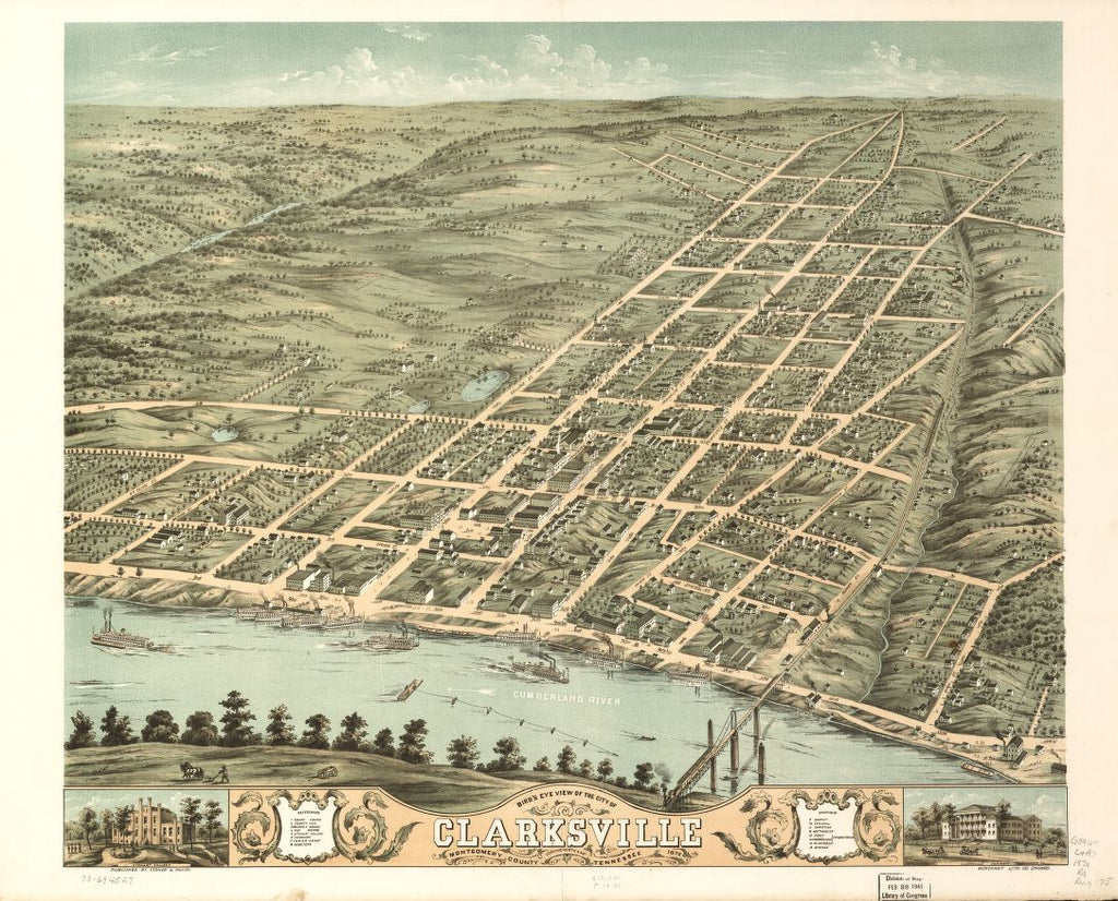 8 x 12 Reproduced Photo of Vintage Old Perspective Birds Eye View Map or Drawing of: Clarksville, Montgomery County, Tennessee 1870. Ruger, A.Merchant's Lithographing Company.Ruger & Stoner. 1870