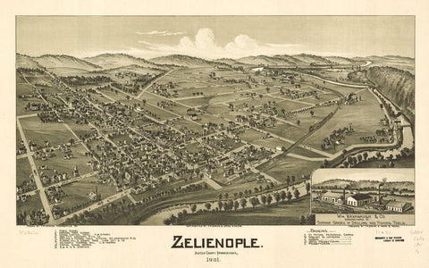 8 x 12 Reproduced Photo of Vintage Old Perspective Birds Eye View Map or Drawing of: Zelienople, Butler County, Pennsylvania 1901.  Fowler, T. M. - Moyer, James - Fowler, T. M.  1901