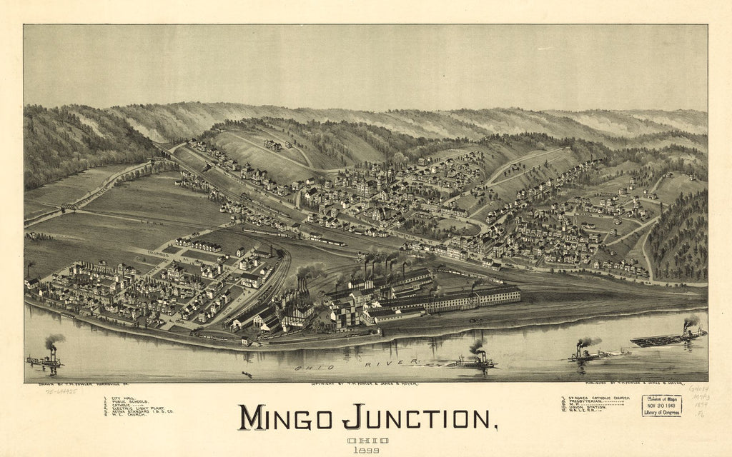 8 x 12 Reproduced Photo of Vintage Old Perspective Birds Eye View Map or Drawing of: Mingo Junction, Ohio 1899. Fowler, T. M. (Thaddeus Mortimer), 1899