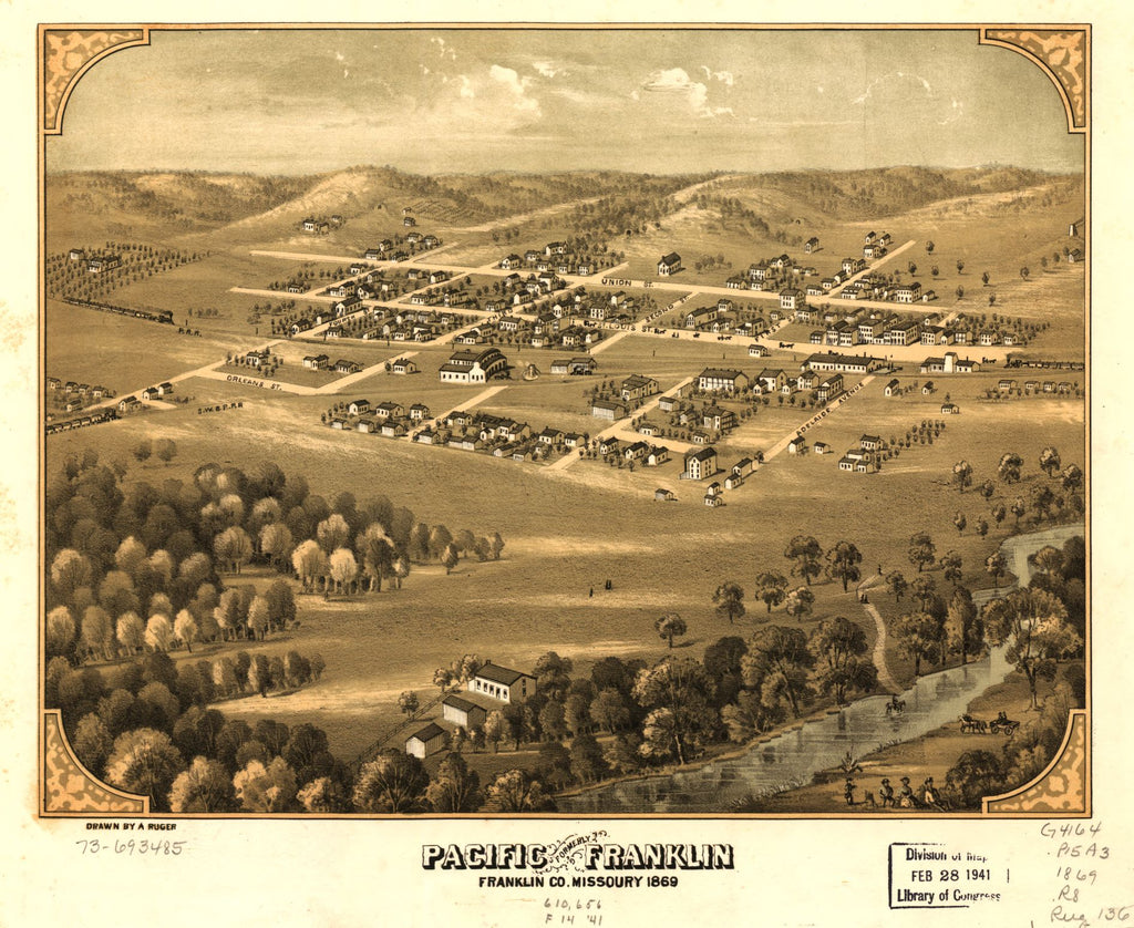 8 x 12 Reproduced Photo of Vintage Old Perspective Birds Eye View Map or Drawing of: Pacific, formerly Franklin, Franklin Co., Missouri 1869. Ruger, A. 1869