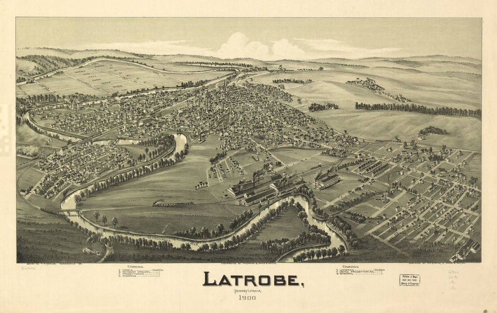 8 x 12 Reproduced Photo of Vintage Old Perspective Birds Eye View Map or Drawing of: Latrobe, Pennsylvania 1900. Fowler, T. M. - Moyer, James - Fowler, T. M. 1900