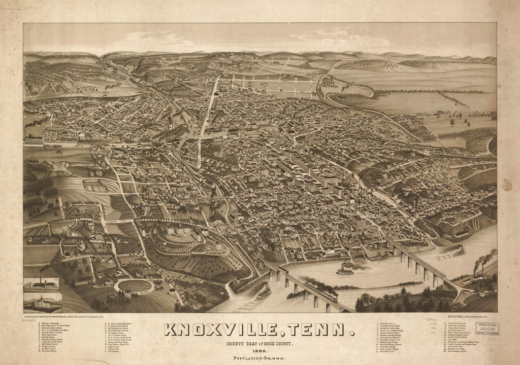 8 x 12 Reproduced Photo of Vintage Old Perspective Birds Eye View Map or Drawing of: Knoxville, Tenn. county seat of Knox County 1886. Wellge, H. (Henry)Beck & Pauli.Norris, Wellge & Co. 1886