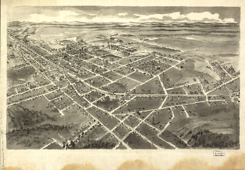8 x 12 Reproduced Photo of Vintage Old Perspective Birds Eye View Map or Drawing of: [ Hickory, North Carolina. Downs, A. E. (Albert E.) 1907?
