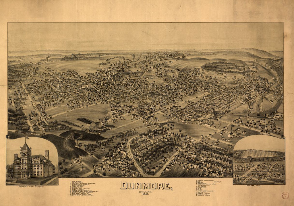 8 x 12 Reproduced Photo of Vintage Old Perspective Birds Eye View Map or Drawing of: Dunmore, Pennsylvania  Fowler, T. M. - Downs, A. E. (Albert E.) - Fowler, T. M 1892
