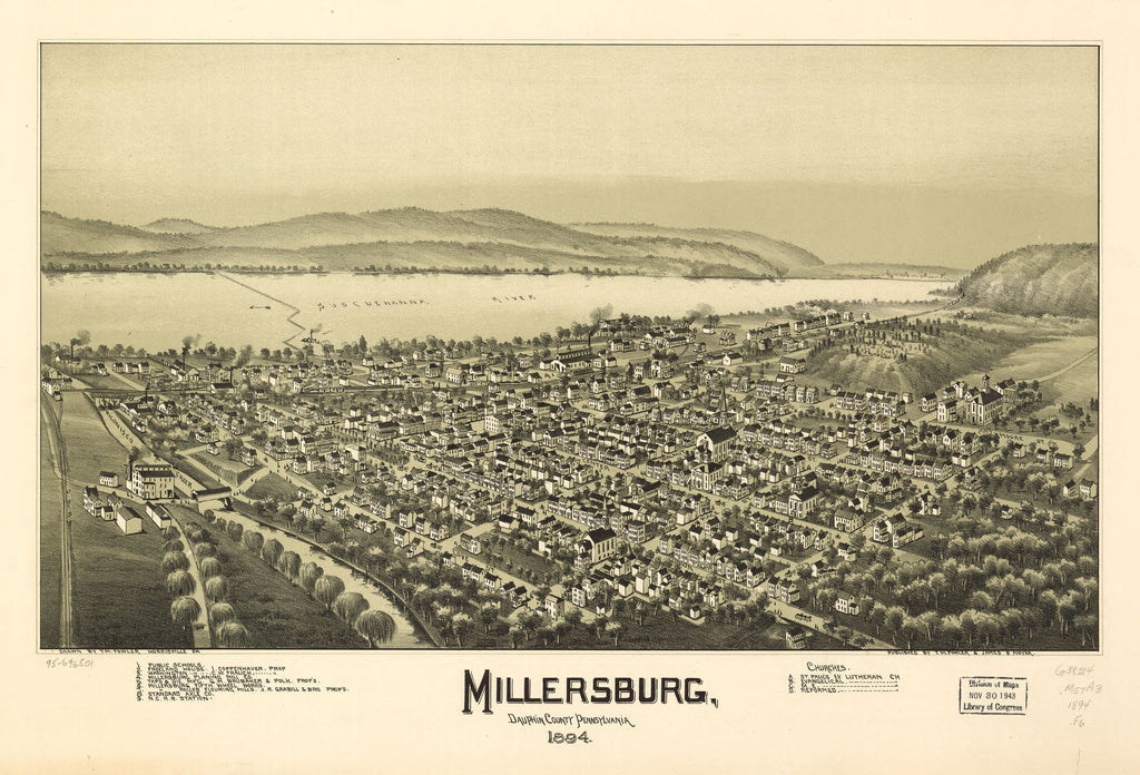 8 x 12 Reproduced Photo of Vintage Old Perspective Birds Eye View Map or Drawing of: Millersburg, Dauphin County, Pennsylvania 1894. Fowler, T. M. - Moyer, James - Fowler, T. M. 1894
