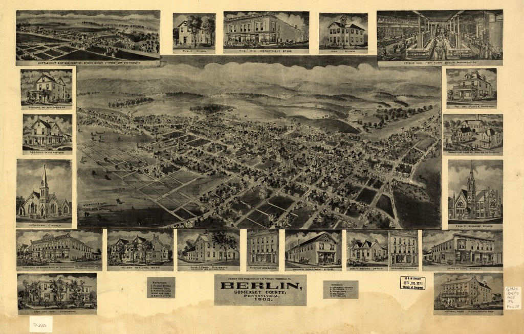 8 x 12 Reproduced Photo of Vintage Old Perspective Birds Eye View Map or Drawing of: Berlin, Somerset County, Pennsylvania 1905 Fowler, T. M. - Fowler, T. M. 1905