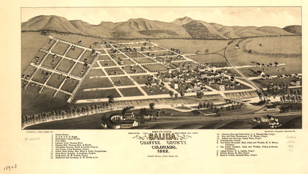 8 x 12 Reproduced Photo of Vintage Old Perspective Birds Eye View Map or Drawing of: Salida, Chaffee County, Colorado. 1882. Stoner, J. J. c1882