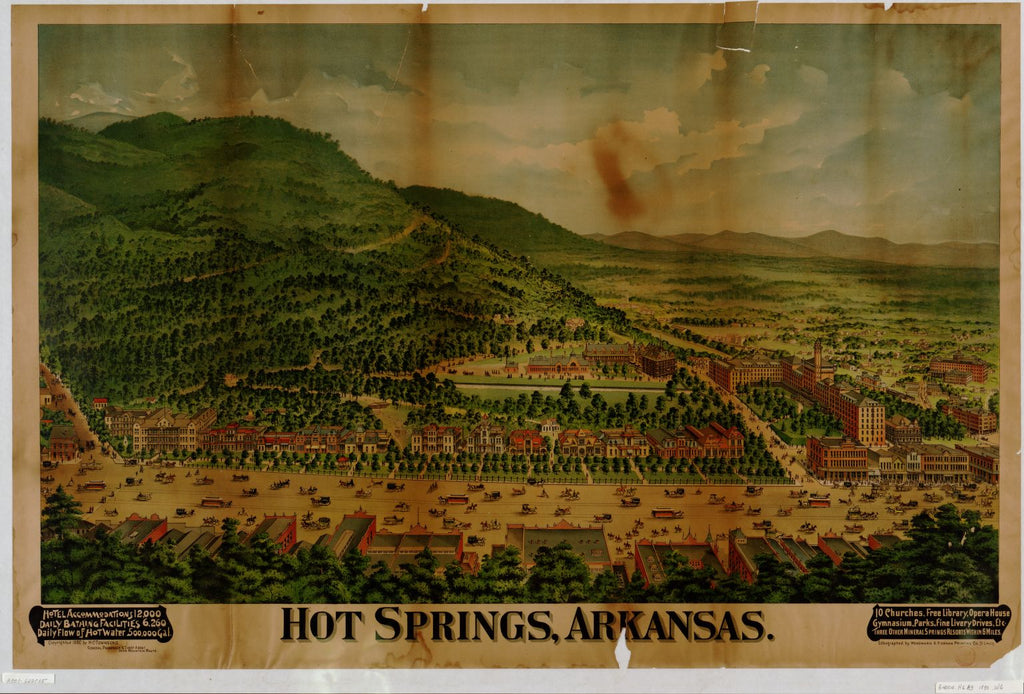 8 x 12 Reproduced Photo of Vintage Old Perspective Birds Eye View Map or Drawing of: Hot Springs, Arkansas Woodward & Tiernam Printing Co. c1890