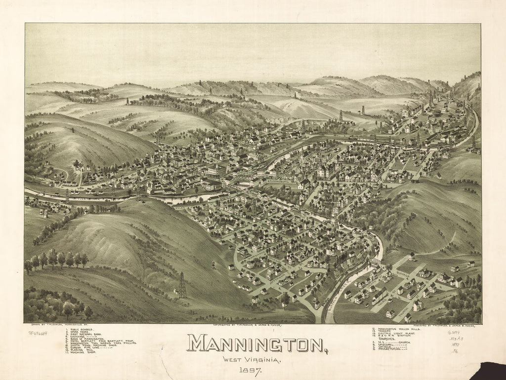 8 x 12 Reproduced Photo of Vintage Old Perspective Birds Eye View Map or Drawing of: Mannington, West Virginia 1897. Fowler, T. M. (Thaddeus Mortimer), 1842-1922.Moyer, James B. 1897