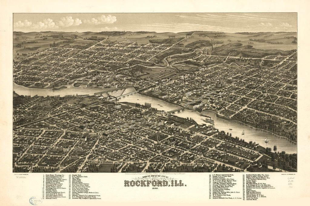 8 x 12 Reproduced Photo of Vintage Old Perspective Birds Eye View Map or Drawing of: Rockford, Ill. 1880. Stoner, J. J. c1879
