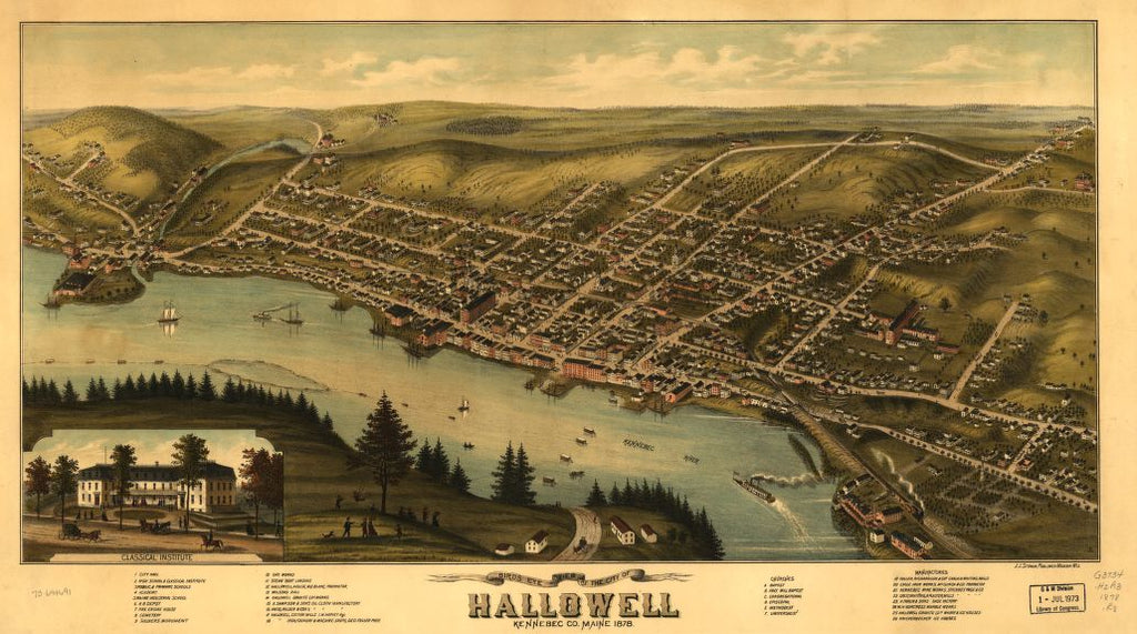 8 x 12 Reproduced Photo of Vintage Old Perspective Birds Eye View Map or Drawing of: Hallowell, Kennebec Co., Maine 1878.   Ruger, A. - Stoner, J. J.  1878