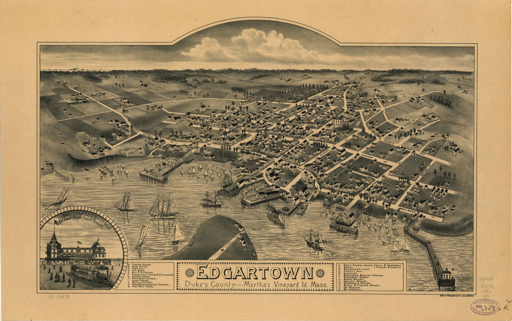 8 x 12 Reproduced Photo of Vintage Old Perspective Birds Eye View Map or Drawing of: Edgartown, Duke's County, Martha's Vineyard Id., Mass.  Geo. H. Walker & Co.  1886