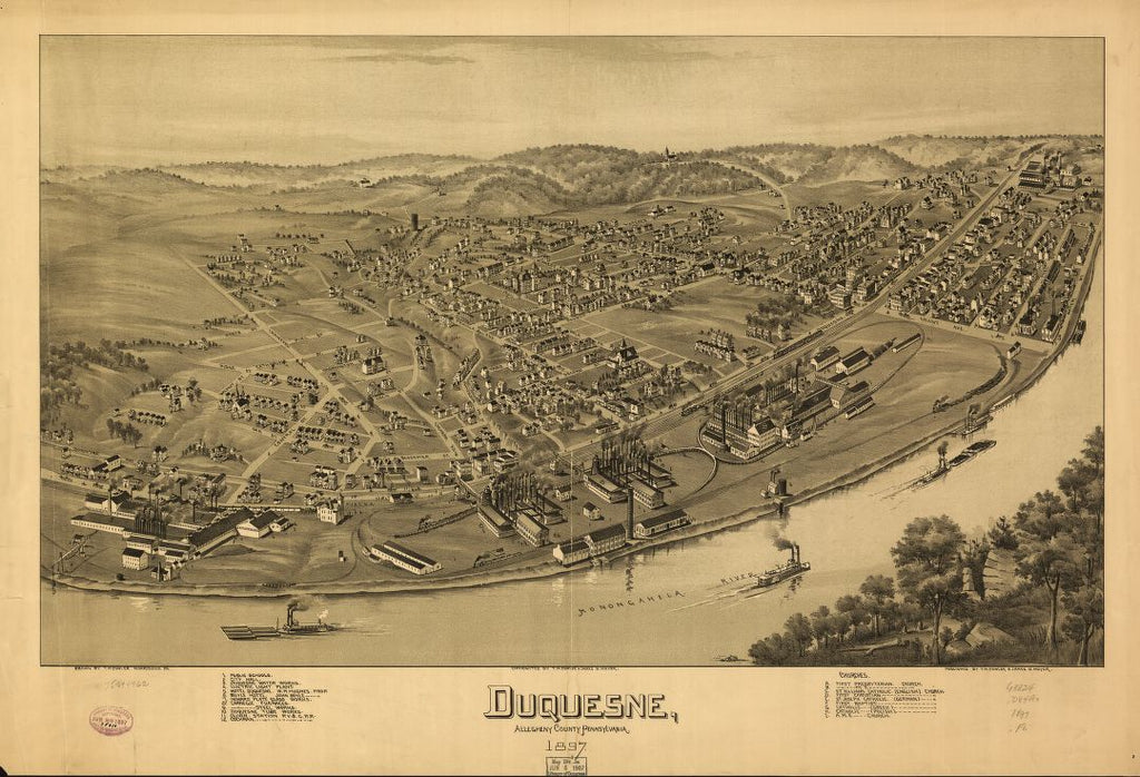8 x 12 Reproduced Photo of Vintage Old Perspective Birds Eye View Map or Drawing of: Duquesne, Allegheny County, Pennsylvania 1897. Fowler, T. M. - Moyer, James - Fowler, T. M. 1897