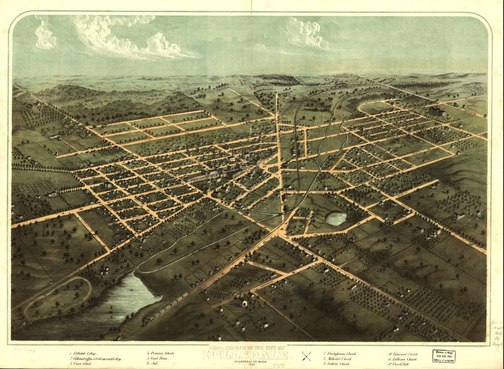8 x 12 Reproduced Photo of Vintage Old Perspective Birds Eye View Map or Drawing of: Hillsdale, Hillsdale Co., Mich. 1866. Ruger, A. 1866