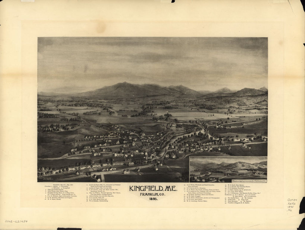 8 x 12 Reproduced Photo of Vintage Old Perspective Birds Eye View Map or Drawing of: Kingfield, Me., Franklin Co., 1895.  Norris, George E.  1895