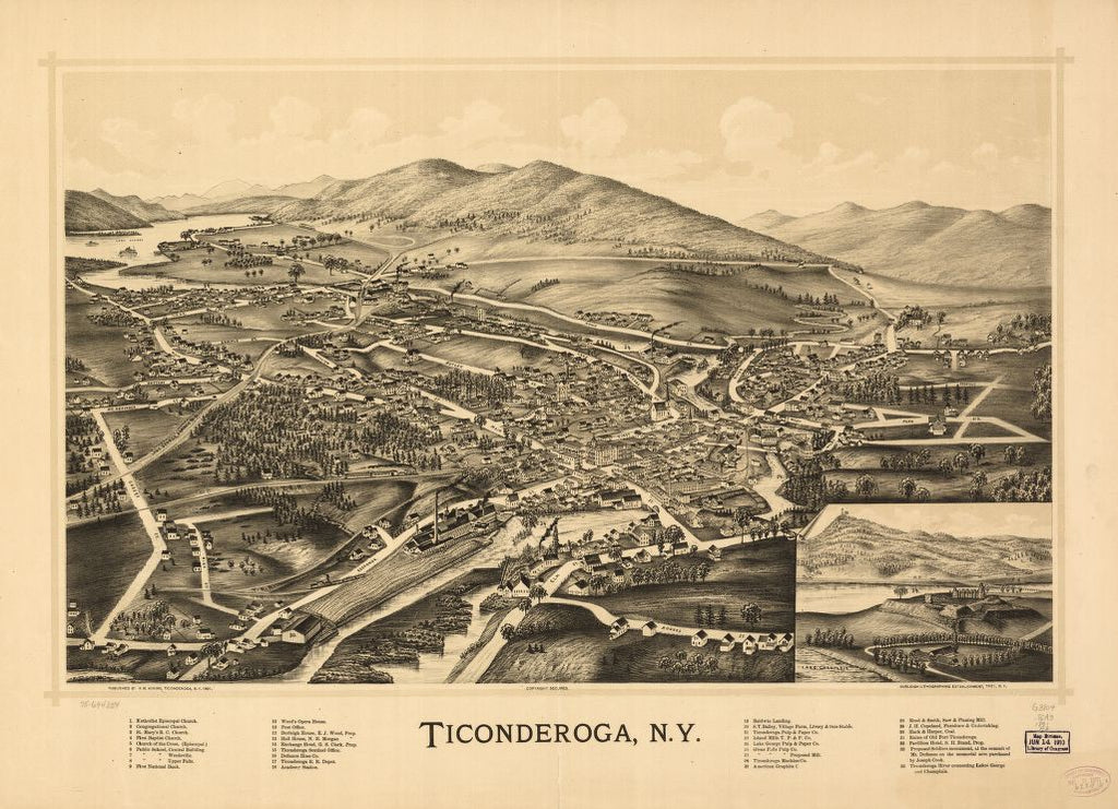 8 x 12 Reproduced Photo of Vintage Old Perspective Birds Eye View Map or Drawing of: Ticonderoga, N.Y. Adkins, R. M. - Burleigh Litho 1891