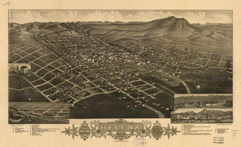 8 x 12 Reproduced Photo of Vintage Old Perspective Birds Eye View Map or Drawing of: 1883 Helena, Montana. The capitol of Montana and county seat of Lewis and Clarke Co. Stoner, J. J. c1883