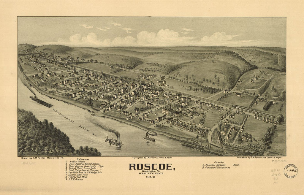 8 x 12 Reproduced Photo of Vintage Old Perspective Birds Eye View Map or Drawing of: Roscoe, Washington Co., Pennsylvania 1902 Fowler, T. M. (Thaddeus Mortimer) 1902