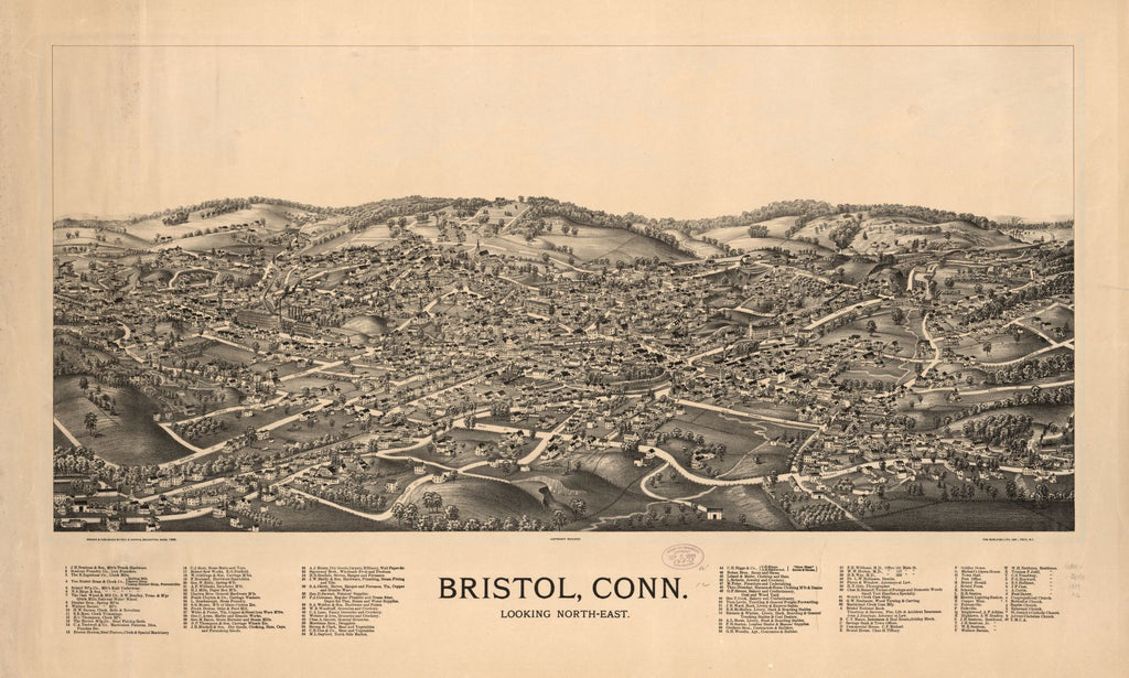 8 x 12 Reproduced Photo of Vintage Old Perspective Birds Eye View Map or Drawing of: Bristol, Conn. looking north-east.  Norris, George E. - Burleigh Litho  1889