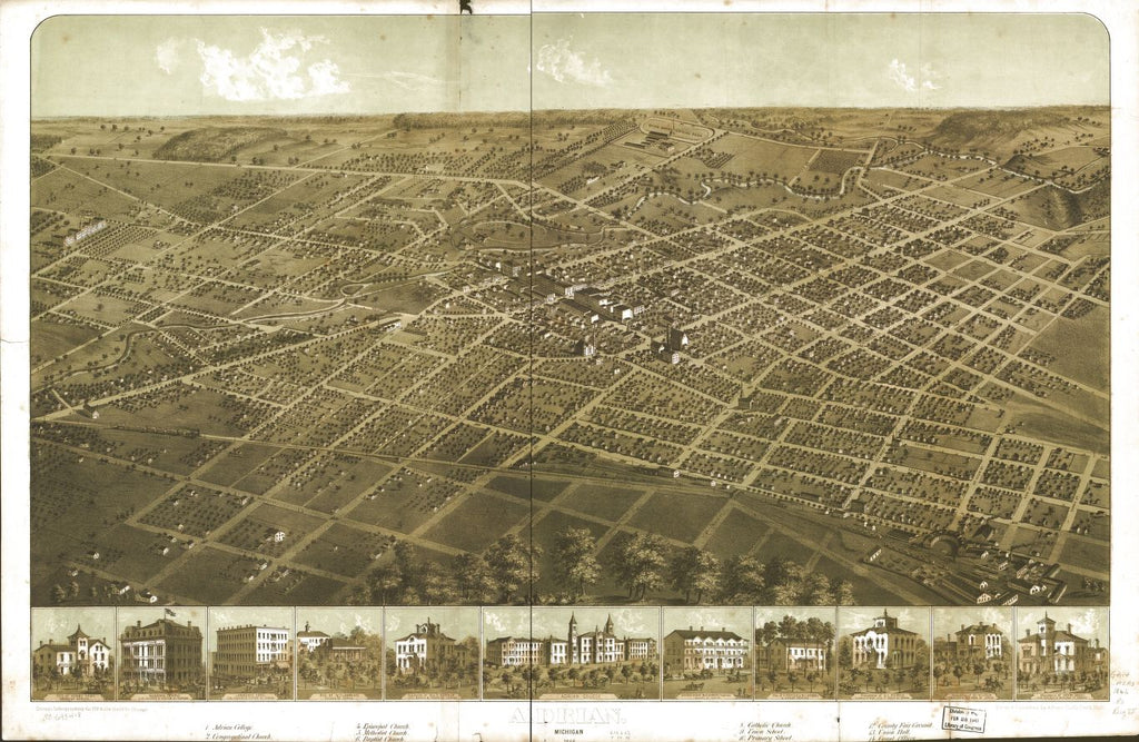 8 x 12 Reproduced Photo of Vintage Old Perspective Birds Eye View Map or Drawing of: Adrian, Michigan 1866. Ruger, A. 1866
