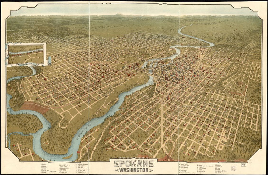 8 x 12 Reproduced Photo of Vintage Old Perspective Birds Eye View Map or Drawing of: Spokane, Washington. John W. Graham & Co. (Spokane, Wash.) c1905