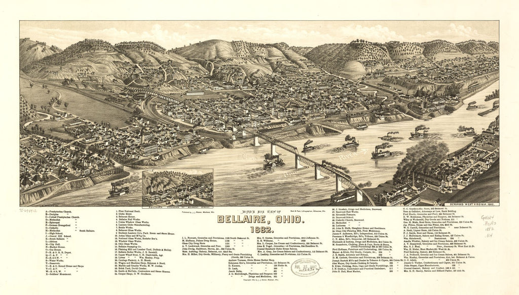 8 x 12 Reproduced Photo of Vintage Old Perspective Birds Eye View Map or Drawing of: Bellaire, Ohio 1882. Wellge, H. (Henry). c1882
