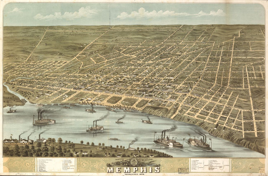 8 x 12 Reproduced Photo of Vintage Old Perspective Birds Eye View Map or Drawing of: Memphis, Tennessee 1870. Ruger, A. 1870