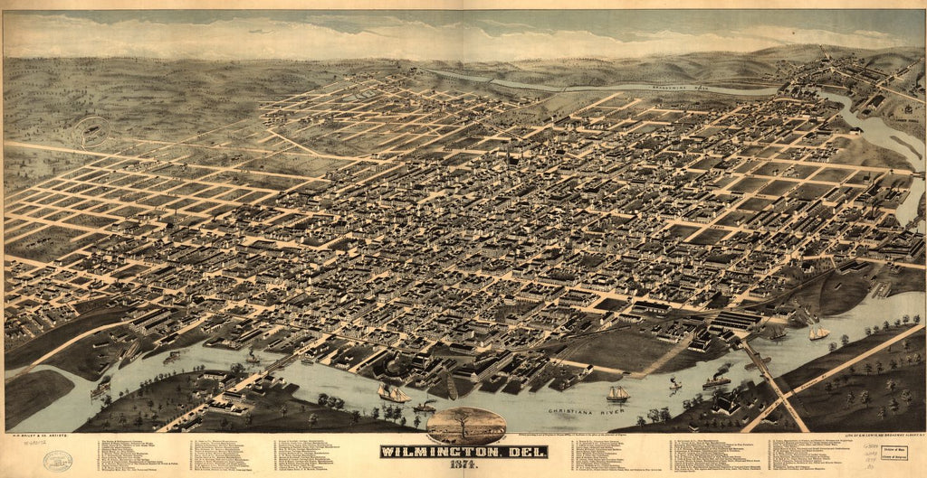 8 x 12 Reproduced Photo of Vintage Old Perspective Birds Eye View Map or Drawing of: Wilmington, Del. 1874.   H.H. Bailey & Co. - Lewis, George W. - Harkness, John C.  1874