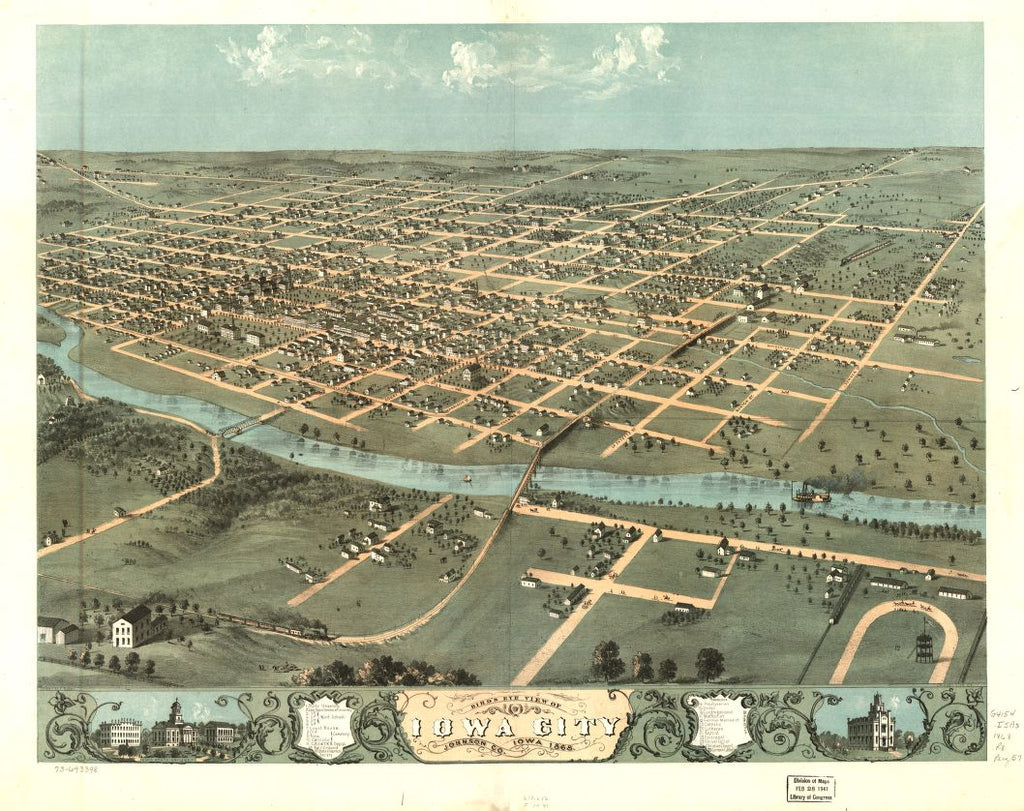 8 x 12 Reproduced Photo of Vintage Old Perspective Birds Eye View Map or Drawing of: Iowa City, Johnson Co., Iowa 1868. Ruger, A.Chicago Lithographing Co. 1868