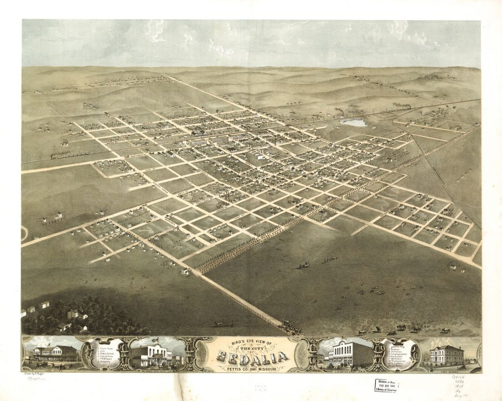8 x 12 Reproduced Photo of Vintage Old Perspective Birds Eye View Map or Drawing of: Sedalia, Pettis Co., Missouri 1869. Ruger, A. 1869