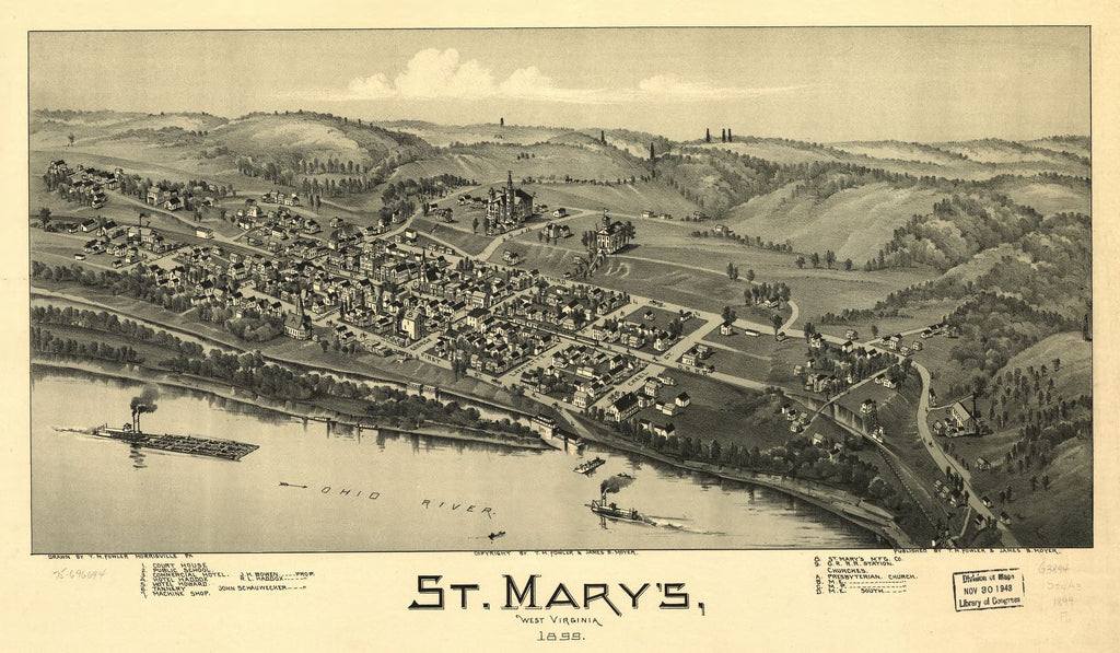 8 x 12 Reproduced Photo of Vintage Old Perspective Birds Eye View Map or Drawing of: St. Mary's, West Virginia 1899. Fowler, T. M. (Thaddeus Mortimer), 1842-1922.Moyer, James B. 1899