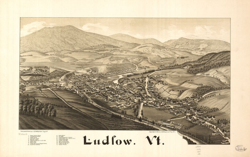 8 x 12 Reproduced Photo of Vintage Old Perspective Birds Eye View Map or Drawing of: Ludlow, Vt.  Burleigh, L. R. (Lucien R.) - Burleigh, L. R.  1885