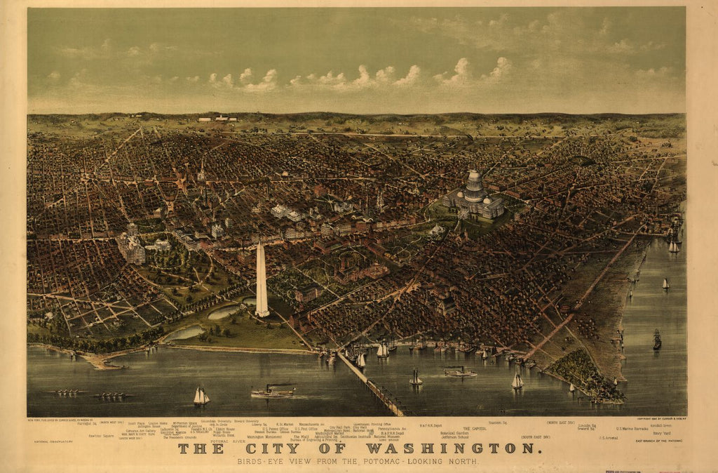 8 x 12 Reproduced Photo of Vintage Old Perspective Birds Eye View Map or Drawing of: Washington view from the Potomac-looking North. Currier & Ives 1892