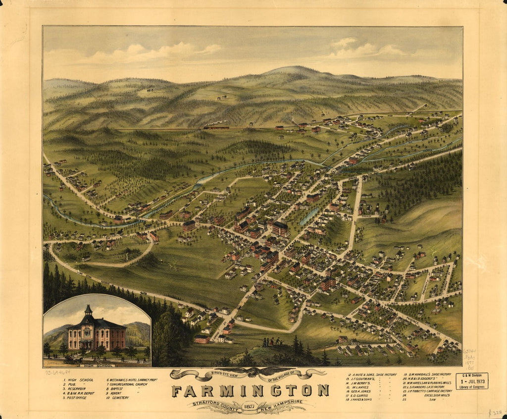 8 x 12 Reproduced Photo of Vintage Old Perspective Birds Eye View Map or Drawing of: Farmington, Stafford County, New Hampshire 1877.  None 1877