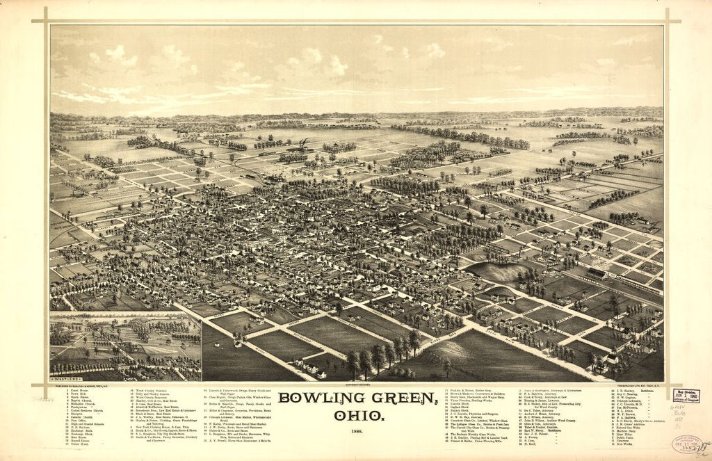 8 x 12 Reproduced Photo of Vintage Old Perspective Birds Eye View Map or Drawing of: Bowling Green, Ohio 1888. Burleigh & Norris. 1888