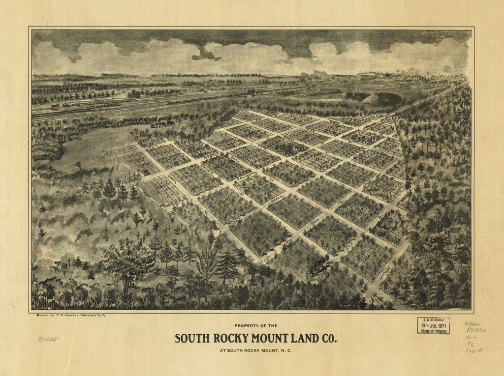 8 x 12 Reproduced Photo of Vintage Old Perspective Birds Eye View Map or Drawing of: Property of the South Rocky Mount Land Co. at South Rocky Mount, N.C. Fowler, T. M. (Thaddeus Mortimer), 19--?