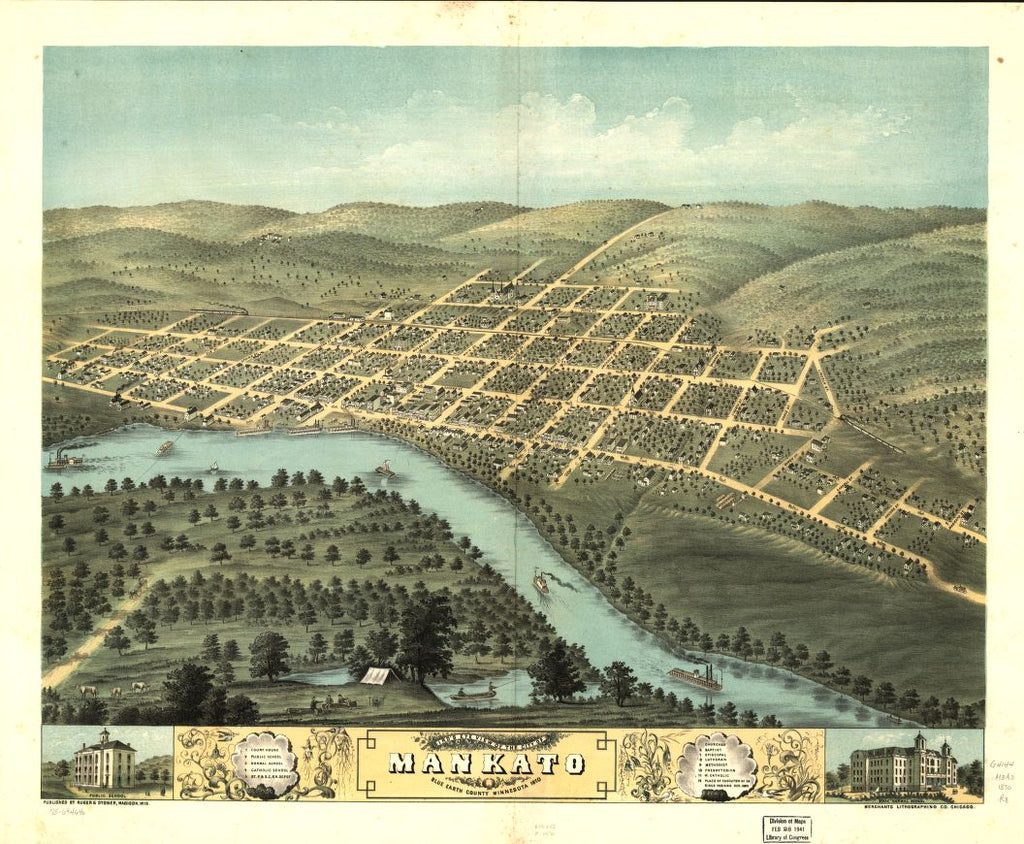 8 x 12 Reproduced Photo of Vintage Old Perspective Birds Eye View Map or Drawing of: Mankato, Blue Earth County, Minnesota 1870. [Ruger, A.] 1870