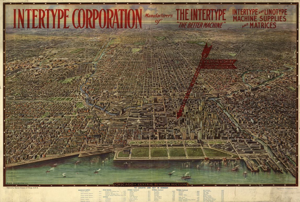 8 x 12 Reproduced Photo of Vintage Old Perspective Birds Eye View Map or Drawing of: Chicago, central business section. Reincke, Arno B. c1916