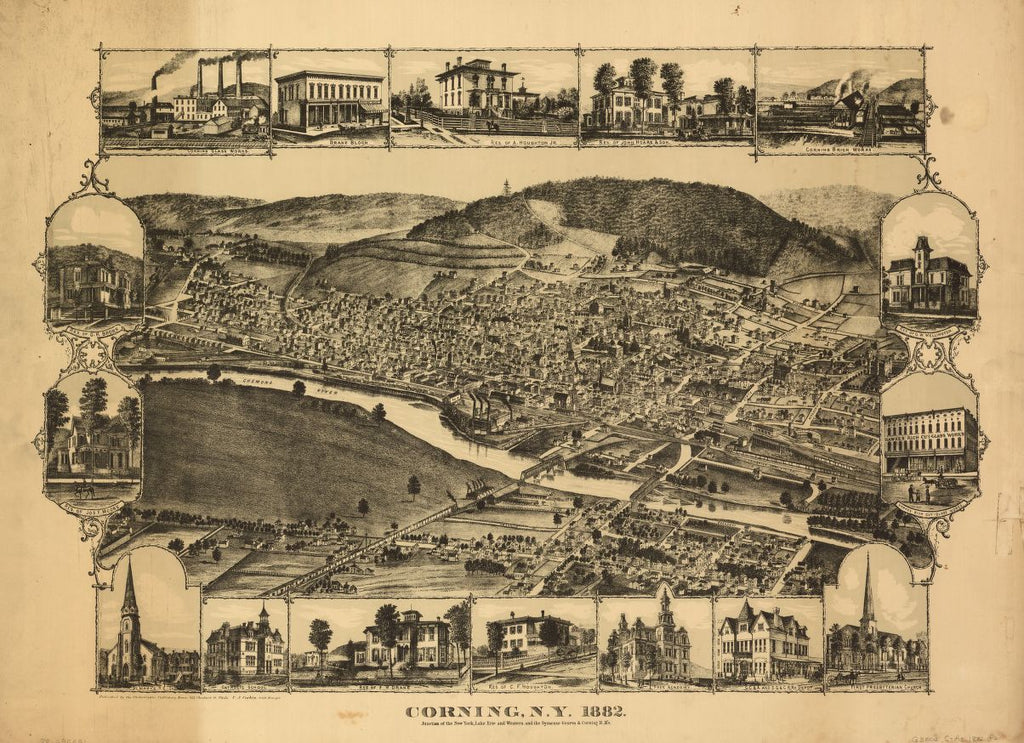 8 x 12 Reproduced Photo of Vintage Old Perspective Birds Eye View Map or Drawing of: Corning, N.Y., 1882 : junction of the New York, Lake Erie, and Western and the Syracuse, Geneva & Corning R.R.'s Philadelphia Publishing House - Corbin, C. J.  1882