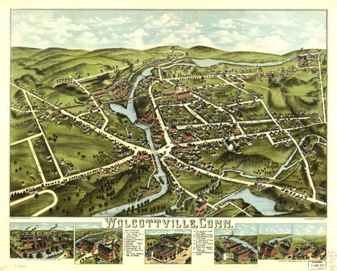 8 x 12 Reproduced Photo of Vintage Old Perspective Birds Eye View Map or Drawing of: Wolcottville, Conn.  D. Bremner Co. - O.H. Bailey & Co.  1875